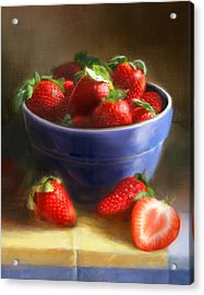 Strawberries On Yellow And Blue Acrylic Print by Robert Papp