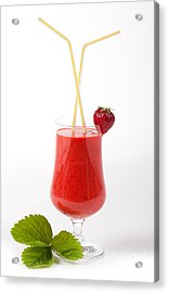 Cocktail Of Fresh Blended Strawberries In Glass  Acrylic Print by Arletta Cwalina