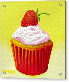 Strawberry Cupcake Acrylic Print by John  Nolan