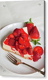 Strawberry Topped Cheesecake On A Round Acrylic Print by Brian Jannsen