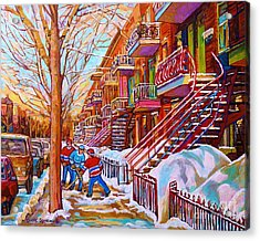 Street Hockey Game In Montreal Winter Scene With Winding Staircases Painting By Carole Spandau Acrylic Print by Carole Spandau