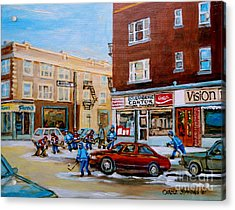 Street Hockey On Monkland Avenue Paintings Of Montreal City Scenes Acrylic Print by Carole Spandau