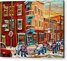 Street Hockey Practice Wilensky's Diner Montreal Winter Street Scenes Paintings Carole Spandau Acrylic Print by Carole Spandau