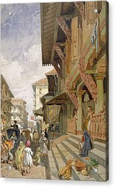 Street In Bombay, From India Ancient Acrylic Print by William 'Crimea' Simpson
