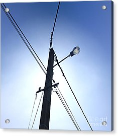 Street Lamp And Power Lines Acrylic Print by Bernard Jaubert