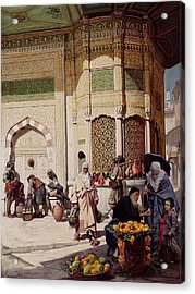 Street Merchant In Istanbul Acrylic Print by Hippolyte Berteaux