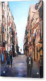 Street Scene Barcelona Acrylic Print by Robina Osbourne