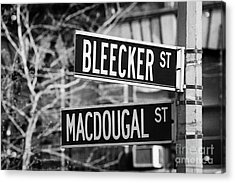 street signs at junction of Bleeker st and Macdougal street greenwich village new york city Acrylic Print by Joe Fox
