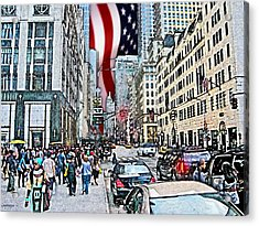 Streets Of Manhattan 2 Acrylic Print by Mario Perez