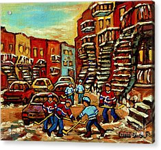 Streets Of Verdun Paintings He Shoots He Scores Our Hockey Town Forever Montreal City Scenes  Acrylic Print by Carole Spandau