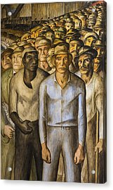 Striking Miners Mural In Coit Tower Acrylic Print by Adam Romanowicz
