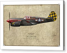 Stud P-40 Warhawk - Map Background Acrylic Print by Craig Tinder
