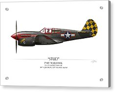 Stud P-40 Warhawk - White Background Acrylic Print by Craig Tinder