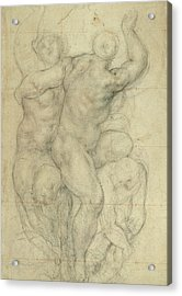 Study For A Group Of Nudes Acrylic Print by Jacopo Pontormo
