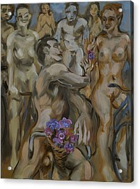 Study For Flowers On The Naked Bike Ride Acrylic Print by Peregrine Roskilly