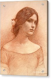 Study For The Lady Clare Acrylic Print by John William Waterhouse