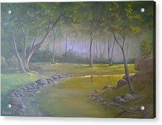 Study In Green Acrylic Print by Darren Boysha