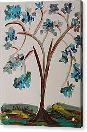 Study Of A Blue Tree Acrylic Print by Mary Carol Williams