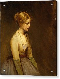 Study Of A Fair Haired Beauty  Acrylic Print by Jean Jacques Henner
