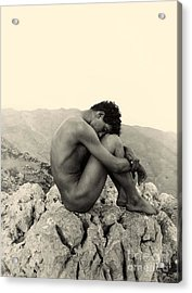 Study Of A Male Nude On A Rock In Taormina Sicily Acrylic Print by Wilhelm von Gloeden