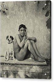 Study Of A Nude Boy With Dog Acrylic Print by Wilhelm von Gloeden