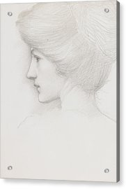 Study Of A Woman's Head Profile To Left Acrylic Print by Sir Edward Coley Burne-Jones