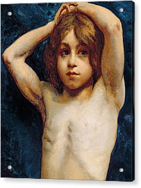 Study Of A Young Boy Acrylic Print by William John Wainwright