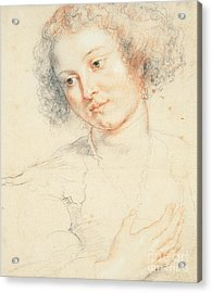 Study Of The Head Of St. Apollonia Acrylic Print by Peter Paul Rubens