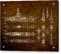 Submarine Blueprint Vintage On Distressed Worn Parchment Acrylic Print by Design Turnpike