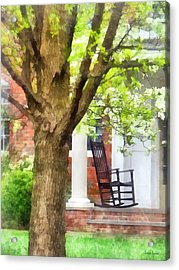Suburbs - Rocking Chair On Porch Acrylic Print by Susan Savad