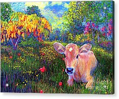 Such A Contented Cow Acrylic Print by Jane Small