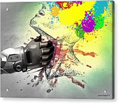 Suffocates Our Freedom And  Prevents The Free Expression Acrylic Print by Paulo Zerbato