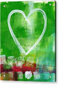 Sumer Love- Abstract Heart Painting Acrylic Print by Linda Woods