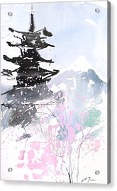 sumie No.10 Pagoda and Mt.Fuji Acrylic Print by Sumiyo Toribe