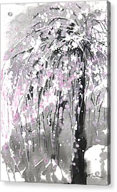 Sumie No.19 Weeping Cherry Blossoms Acrylic Print by Sumiyo Toribe