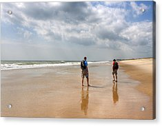 Summer A Beach In The Hamptons Acrylic Print by Mark E Tisdale