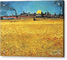 Summer Evening Wheat Field At Sunset Acrylic Print by Vincent van Gogh