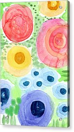 Summer Garden Blooms- Watercolor Painting Acrylic Print by Linda Woods