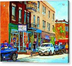 Summer On Saint Viateur Street Strolling By The Bagel Shop And David's Tea Room  Montreal City Scene Acrylic Print by Carole Spandau