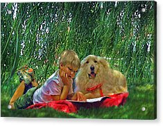 Summer Reading Acrylic Print by Jane Schnetlage