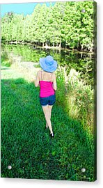 Summer Stroll In The Park - Art By Sharon Cummings Acrylic Print by Sharon Cummings