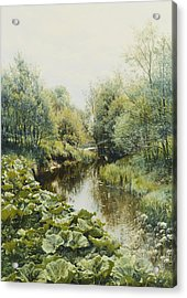 Summerday At The Stream Acrylic Print by Peder Monsted