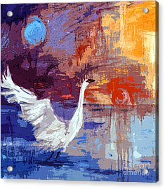 Sun And Moon Swan Rising Acrylic Print by Ginette Callaway