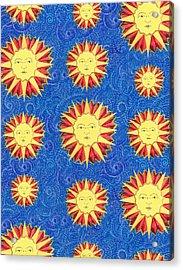 Sun King Textile Pattern Acrylic Print by John Keaton