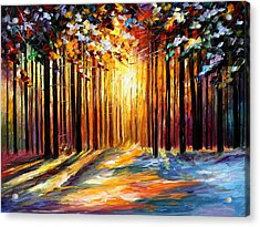 Sun Of January - Palette Knife Landscape Forest Oil Painting On Canvas By Leonid Afremov Acrylic Print by Leonid Afremov