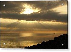 Sun Rays / Sea Pier Acrylic Print by Gynt