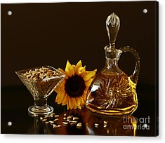 Sunflower And Crystal Acrylic Print by Inspired Nature Photography Fine Art Photography