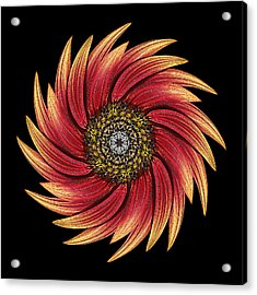 Sunflower Moulin Rouge Ix Flower Mandala Acrylic Print by David J Bookbinder