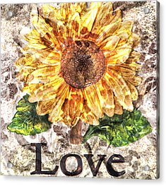 Sunflower With Hope And Love Acrylic Print by Art World