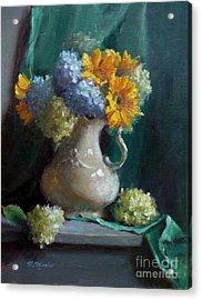 Sunflowers And Hydrangeas Acrylic Print by Viktoria K Majestic